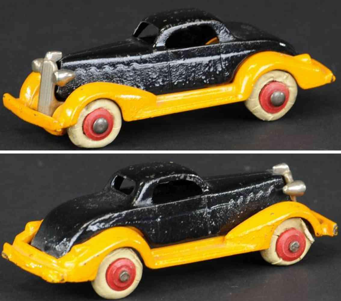 hubley cast iron toy car coupe orange black