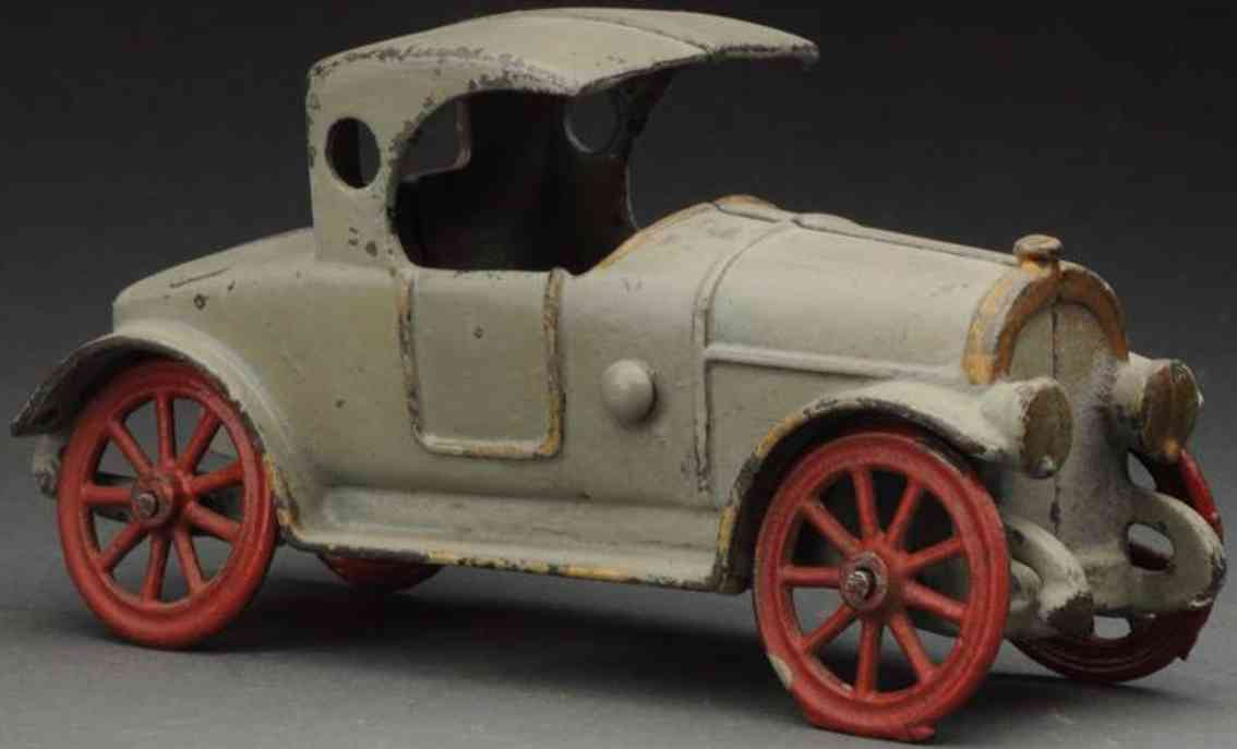 hubley cast iron toy car early coupe grey