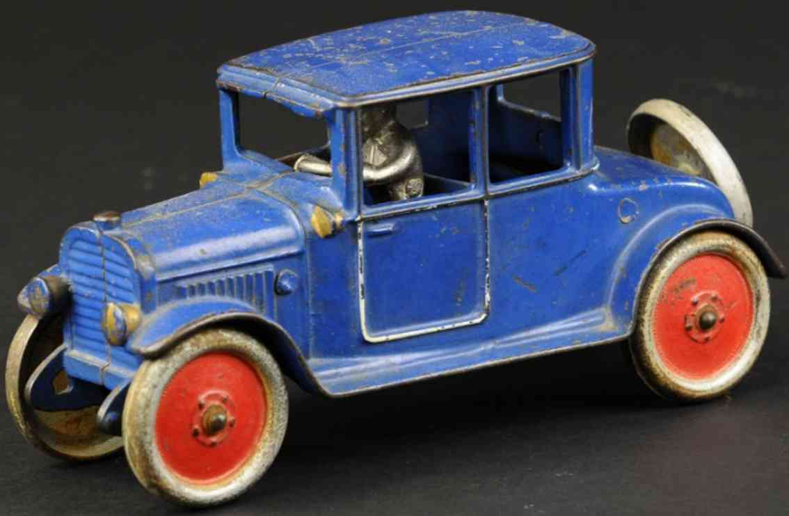 hubley cast iron toy car early coupe blue