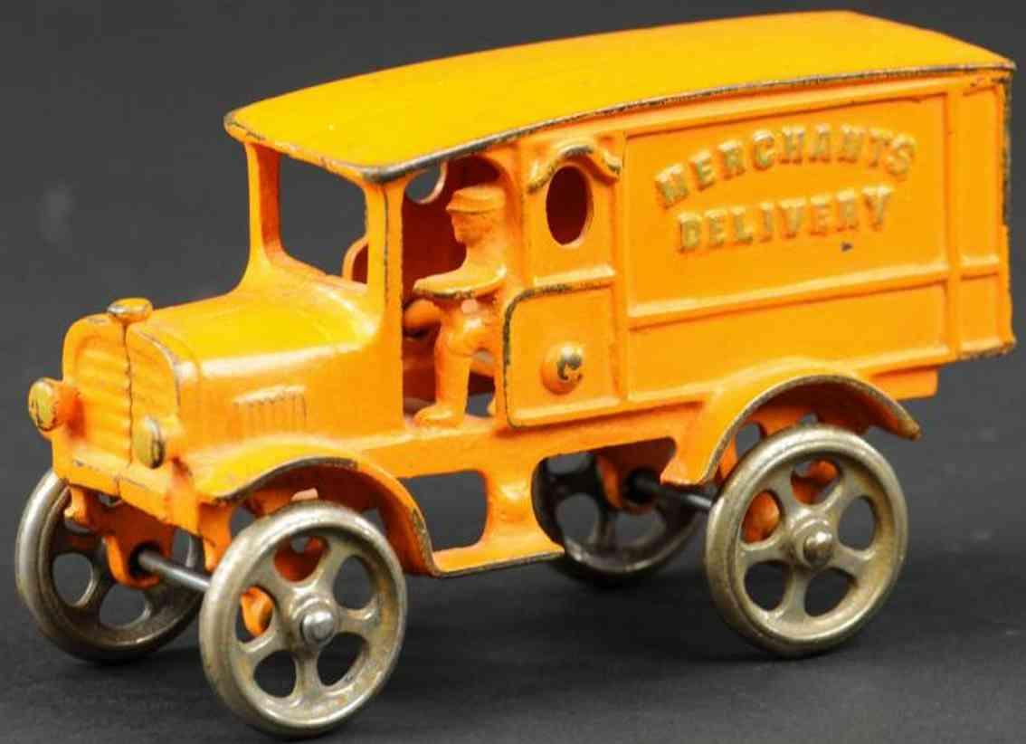 hubley cast iron toy truck merchants delivery truck orange