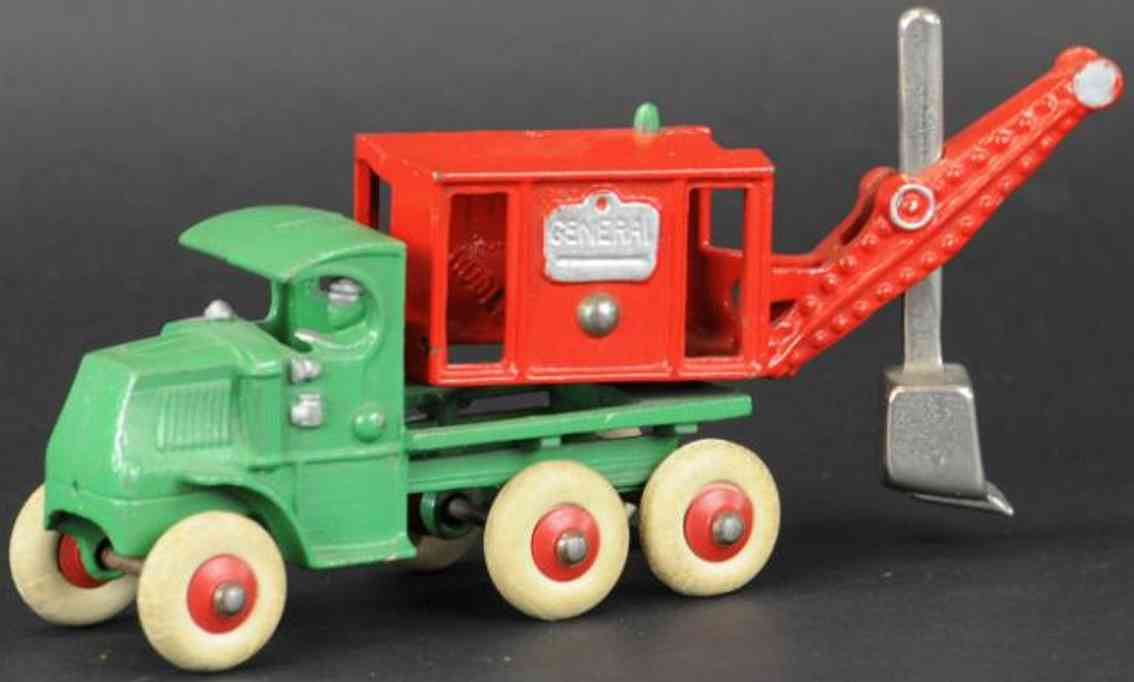 hubley green red cast iron toy mack truck general digger