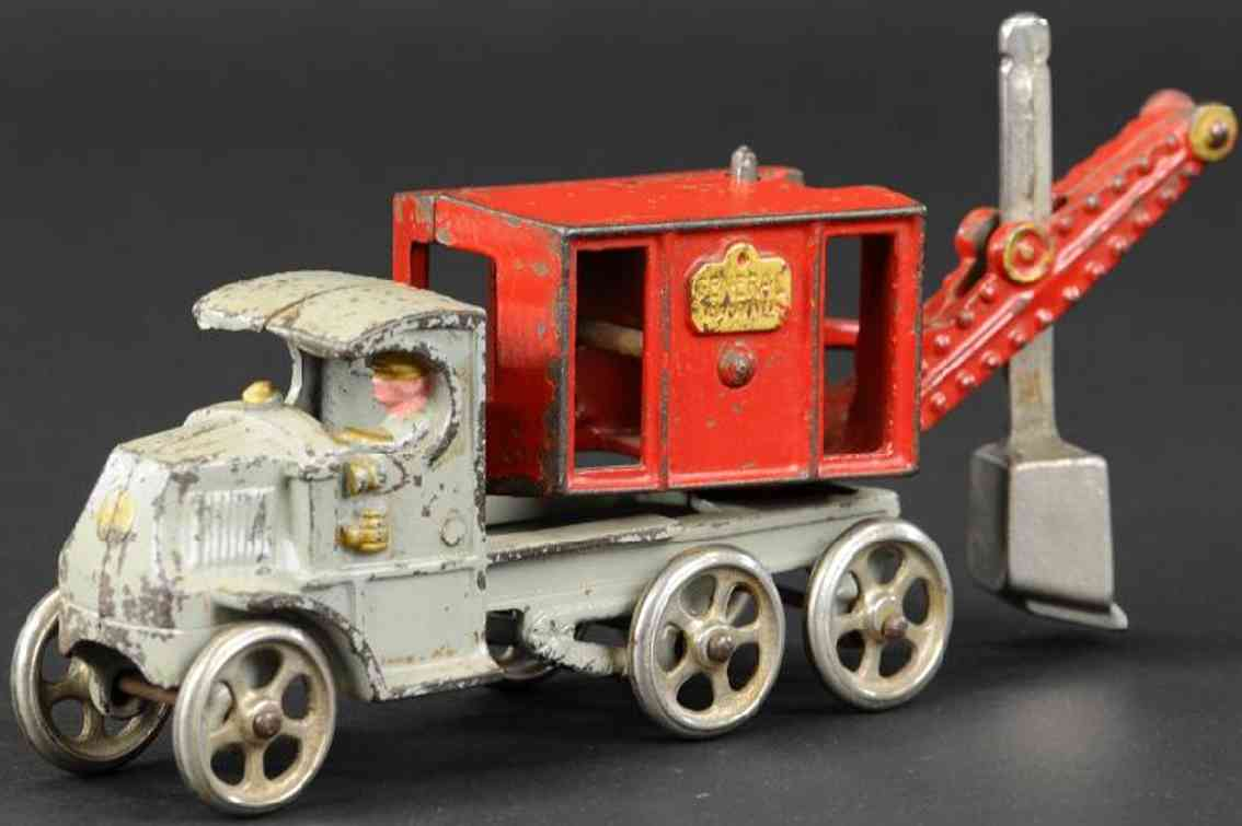 hubley cast iron toy mack truck general digger grey red