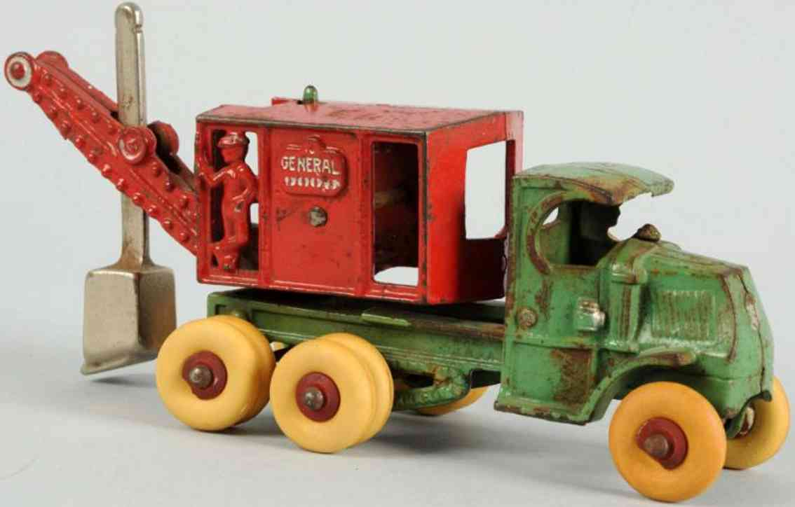 hubley cast iron toy general digger green red