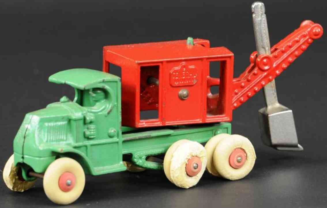 hubley cast iron toy truck general digger red green