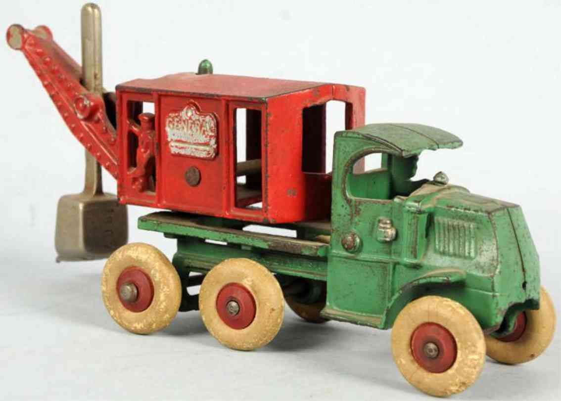 hubley spielzeug gusseisen lastwagen mit bagger gruen rot