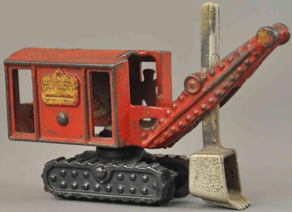 hubley spielzeug gusseisen general bagger auf panzerketten rot schwarz