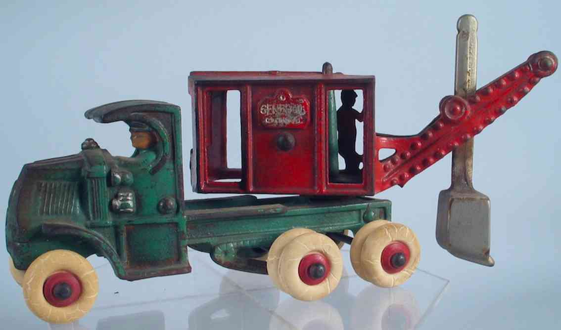 hubley cast iron toy general digger steam shovel truck green red