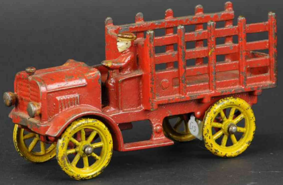 hubley cast iron toy truck open auto dray red