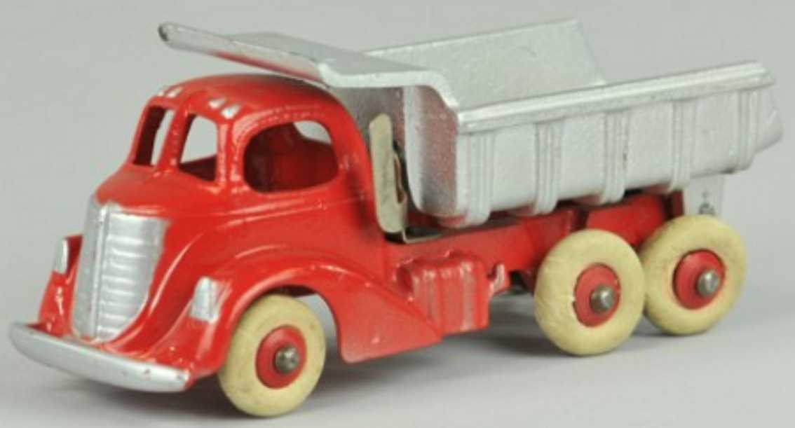 hubley spielzeug gusseisen kipplastwagen rot silbern