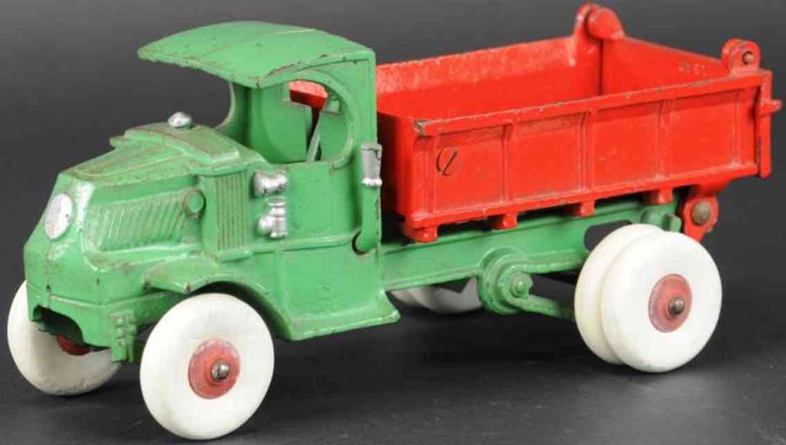 hubley cast iron toy mack dump truck green red