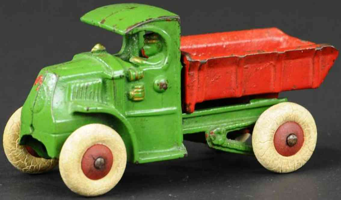 hubley green red cast iron toy mack dump truck