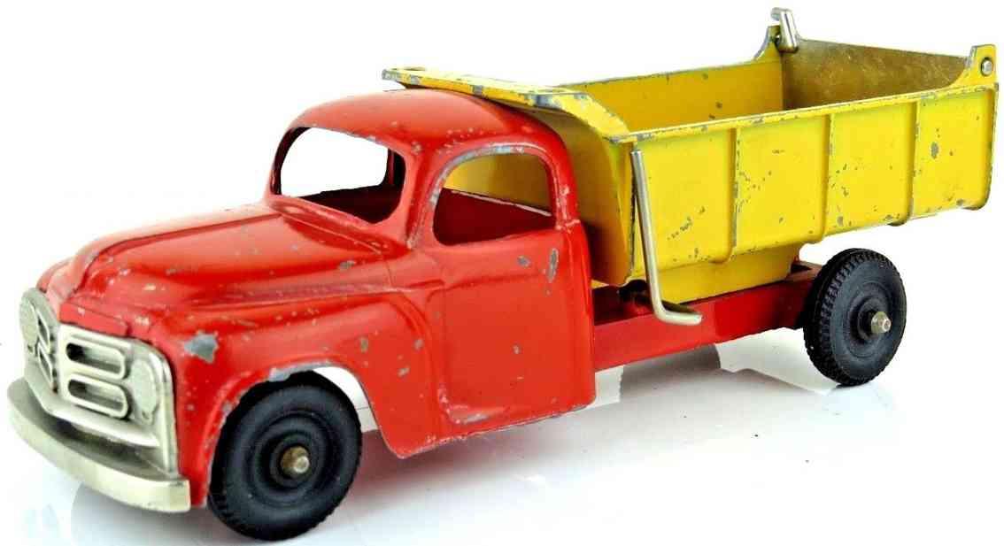 hubley stahlblech spielzeug kipplastwagen rot gelb