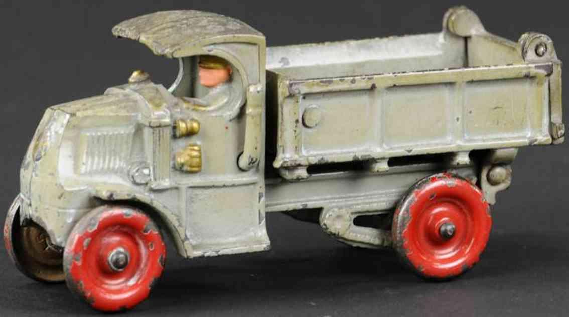 hubley cast iron toy mack dump truck grey driver