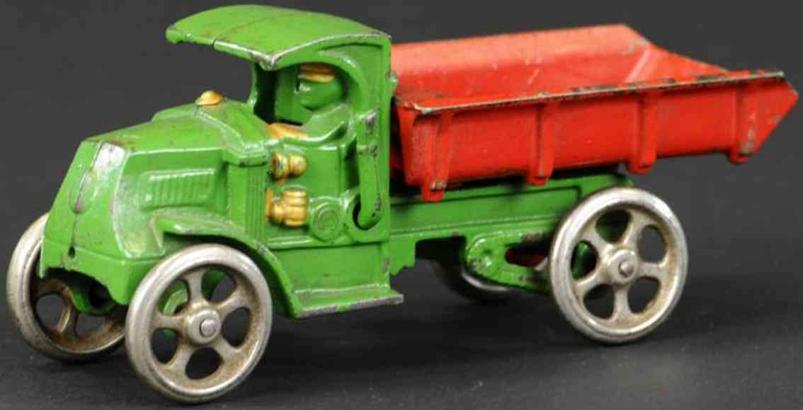 hubley cast iron toy mack dump truck green red driver