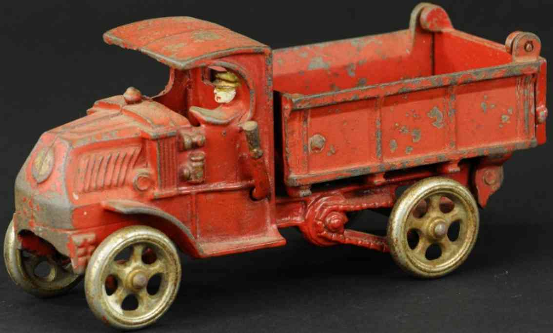 hubley cast iron toy dump truck red