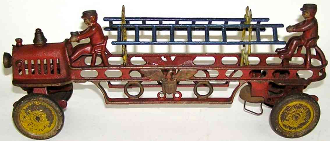 hubley cast iron toy fire ladder truck eagle two figures