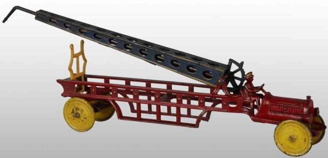 hubley spielzeug gusseisen feuerwehrleiterwagen