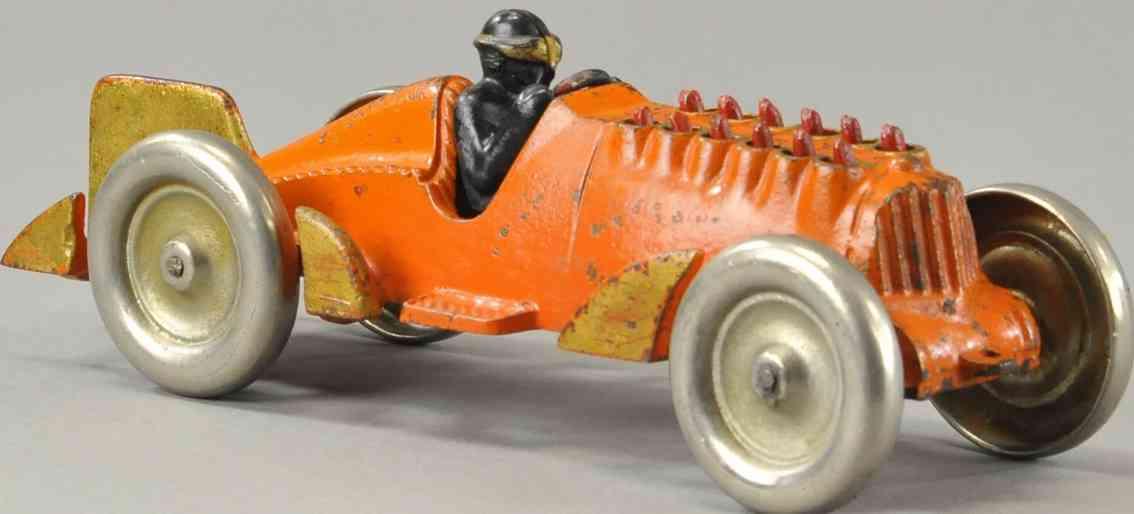 hubley spielzeug gusseisen rennauto rennwagen goldener pfeil orange fahrer