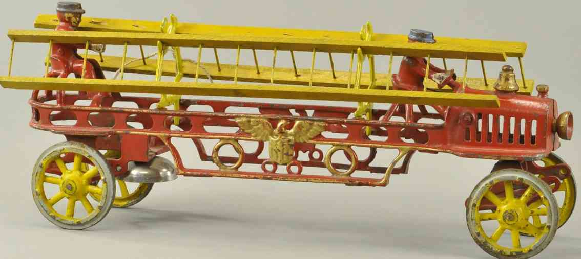 hubley spielzeug gusseisen uebergangs-leiterwagen rot gelb