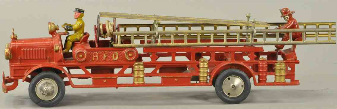 hubley cast iron toy hfd hook and ladder fire truck
