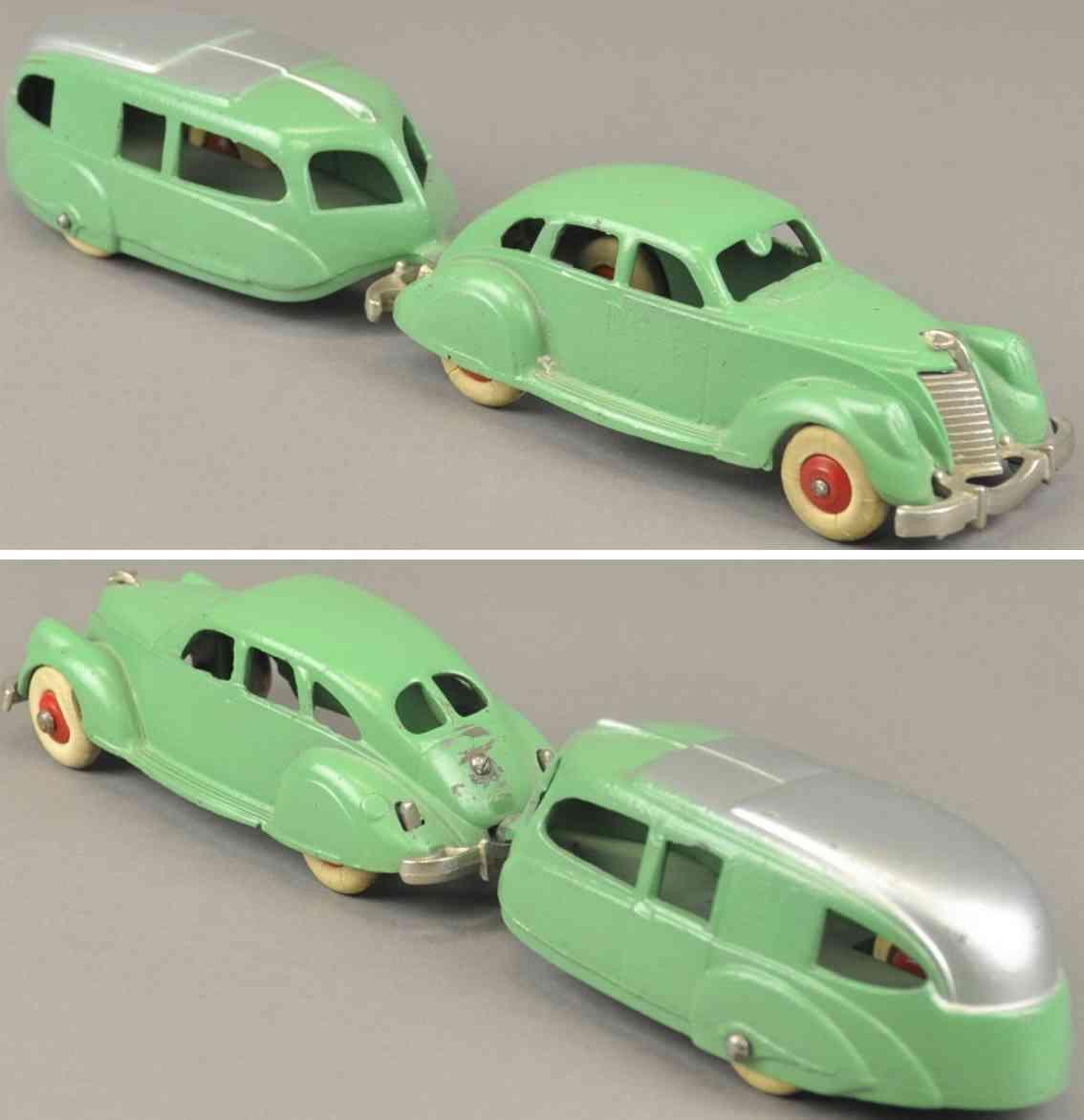hubley spielzeug gusseisen lincoln zephyr auto mit wohnwagen gruen