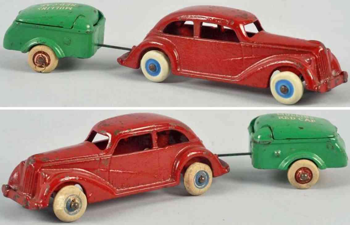 hubley spielzeug gusseisen rotes auto gruener anhaenger