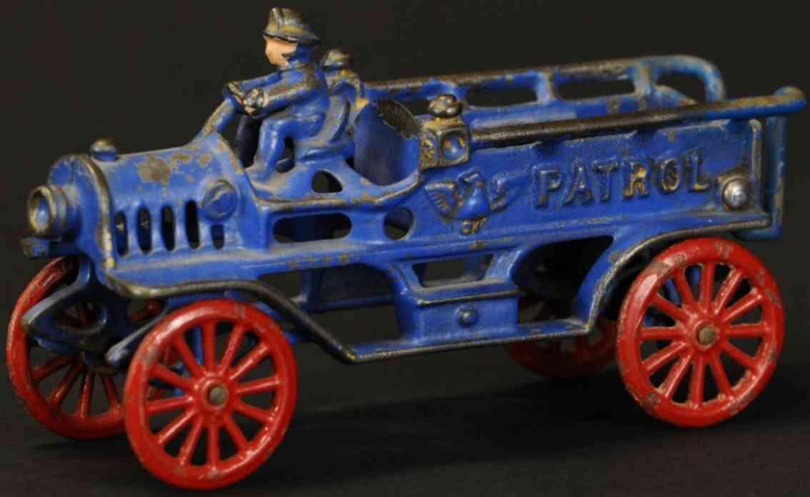 hubley spielzeug gusseisen feuerwehrpatrouillienwagen blau