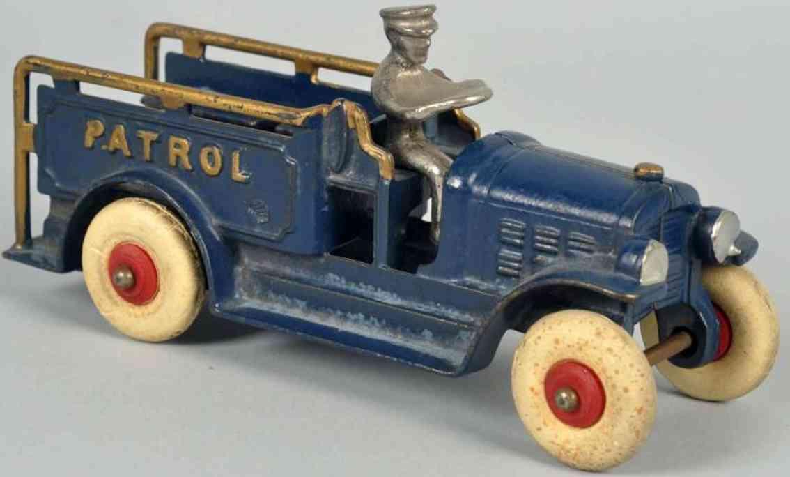 hubley spielzeug gusseisen feuerwehrwagen blau