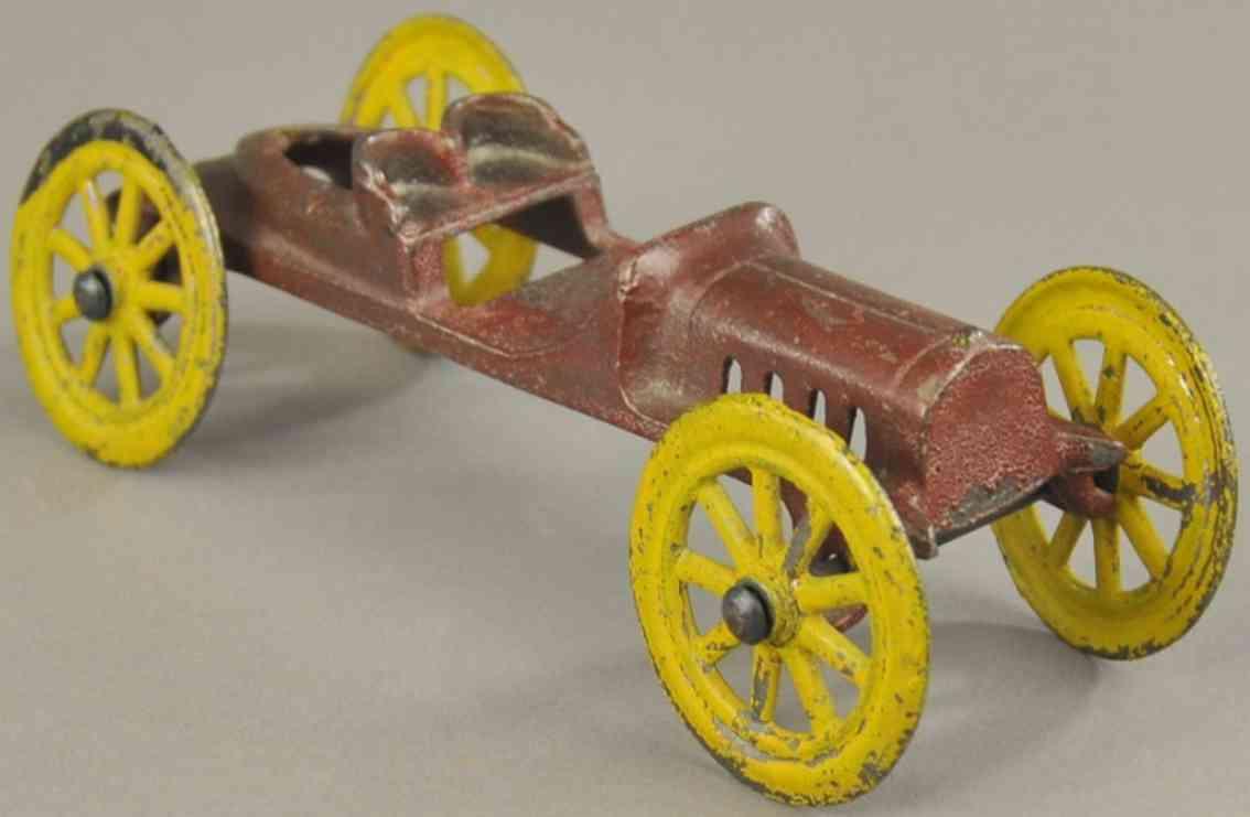 hubley spielzeug gusseisen rennauto rennwagen kastanienbraun gelb