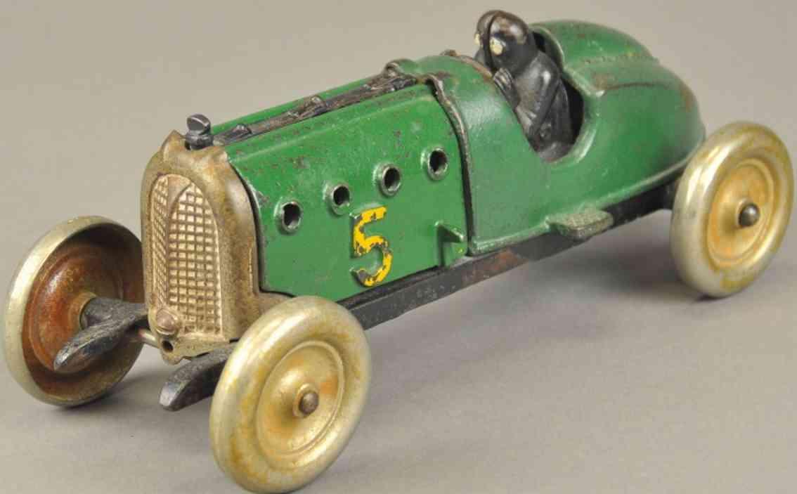 hubley Racer green 9,5 spielzeug gusseisen rennauto rennwagen nr. 5 aus gusseisen, bemalt in grün, motorhaube zu