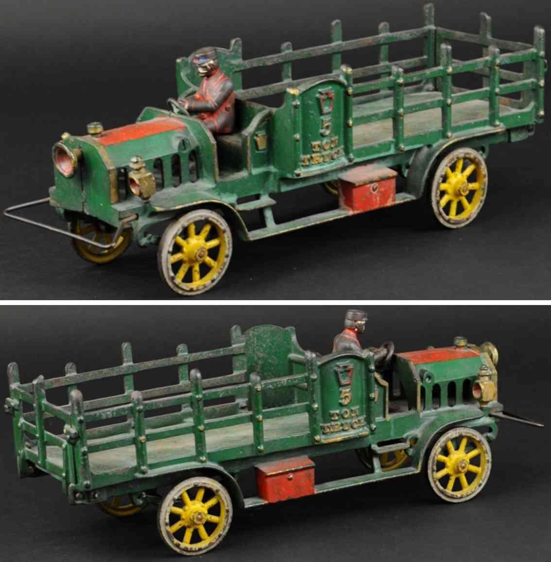 hubley spielzeug gusseisen rungenlastwagen gruen