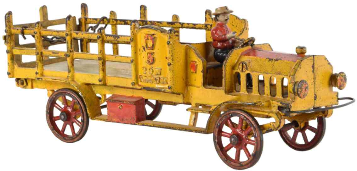hubley spielzeug gusseisen rungenlastwagen gelb 5 ton