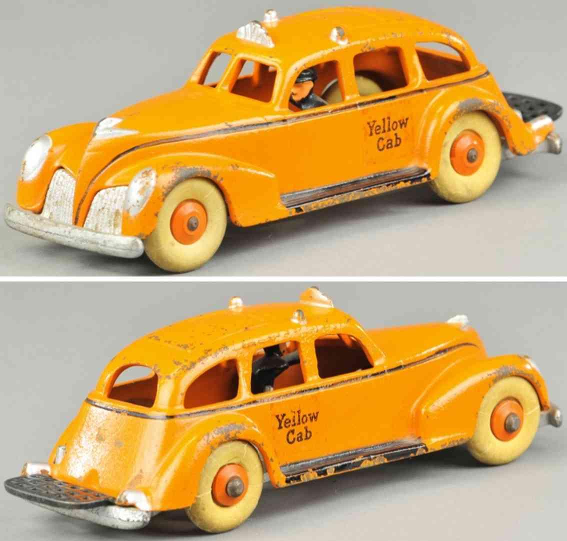 hubley spielzeug gusseisen auto taxi hell orange fahrer
