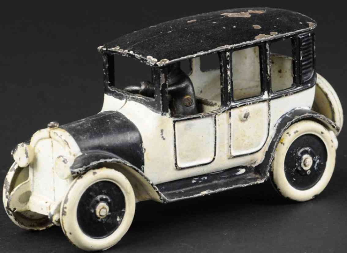 hubley cast iron toy car black white taxi cab