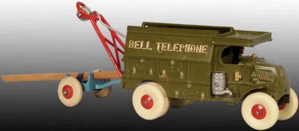 hubley 41 spielzeug gusseisen bell telefon lieferwagen