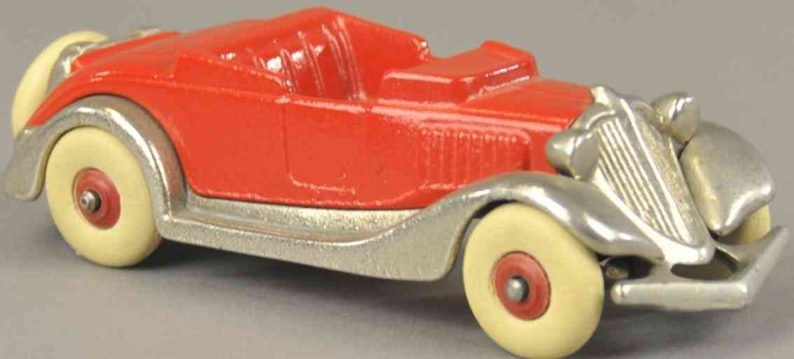 hubley spielzeug gusseisen auto terraplane coupe rot vernickelt