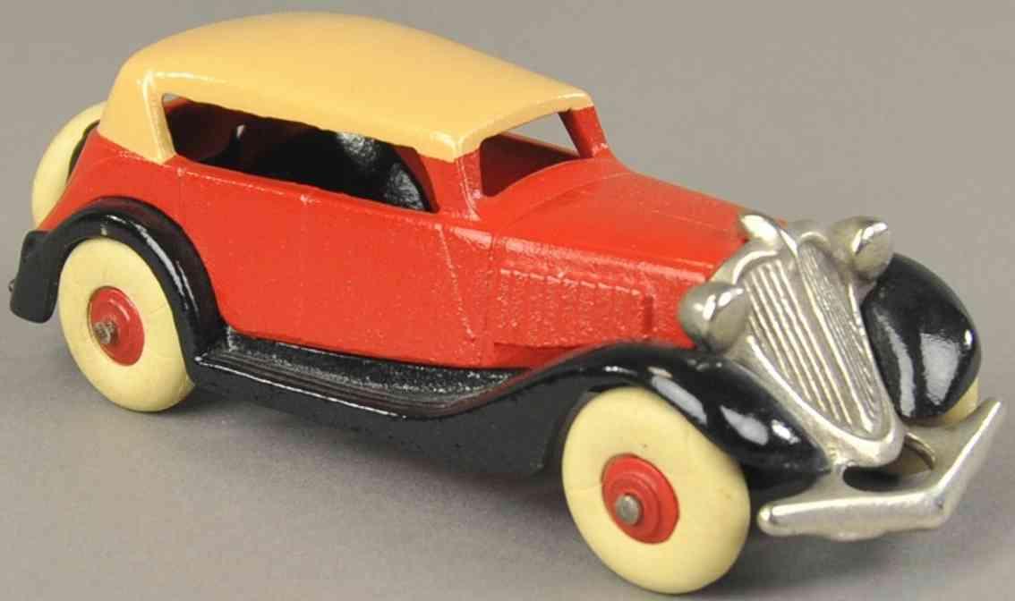 hubley spielzeug gusseisen auto cabriolet rot hellbraun schwarz