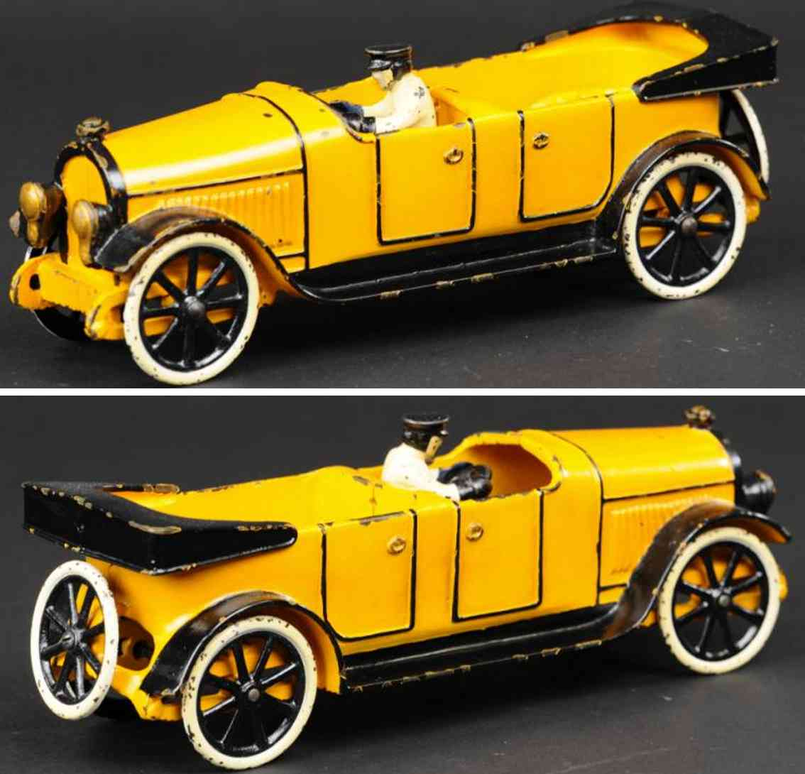 hubley spielzeug gusseisen auto lincoln tourenwagen gelb schwarz