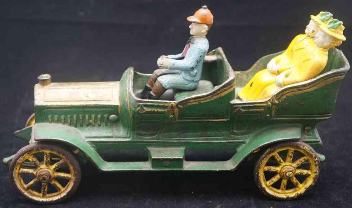 Hubley Oldtimer Offener Tourenwagen aus Gußeisen mit Fahrer