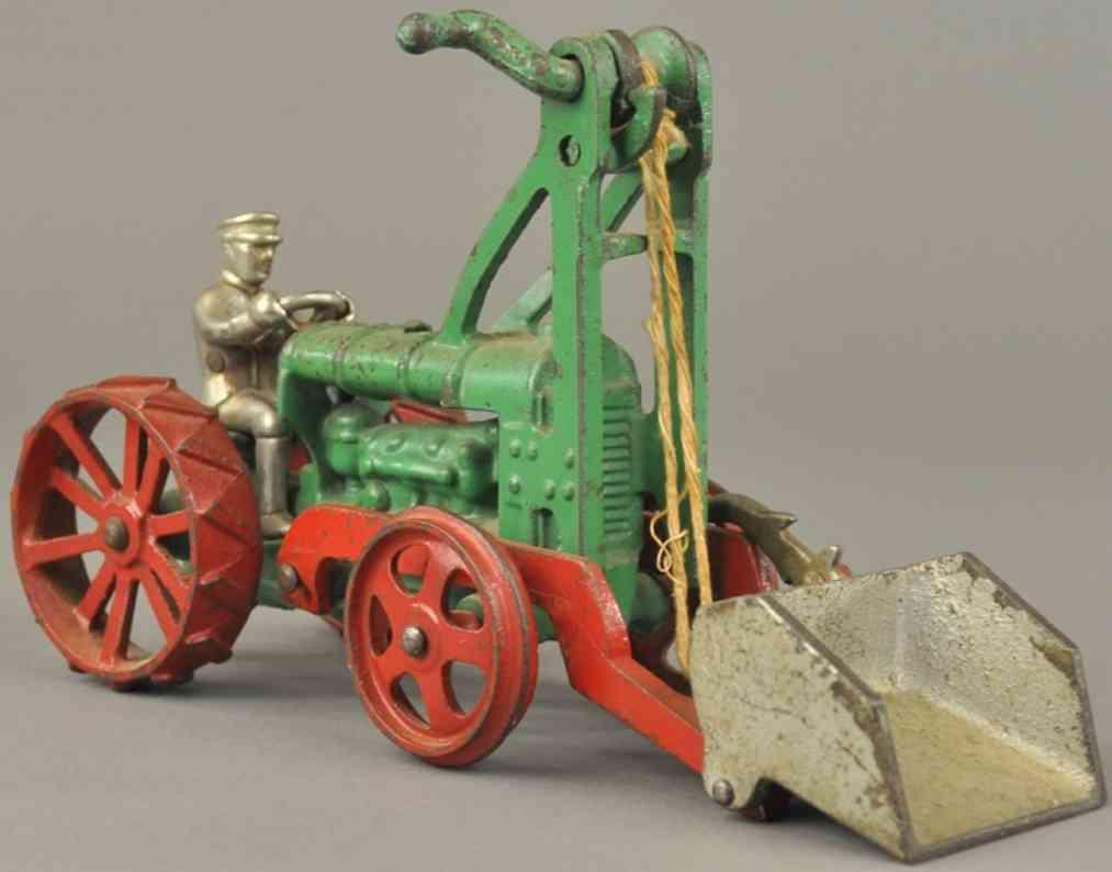 hubley spielzeug gusseisen fordson traktor mit schaufel gruen rot