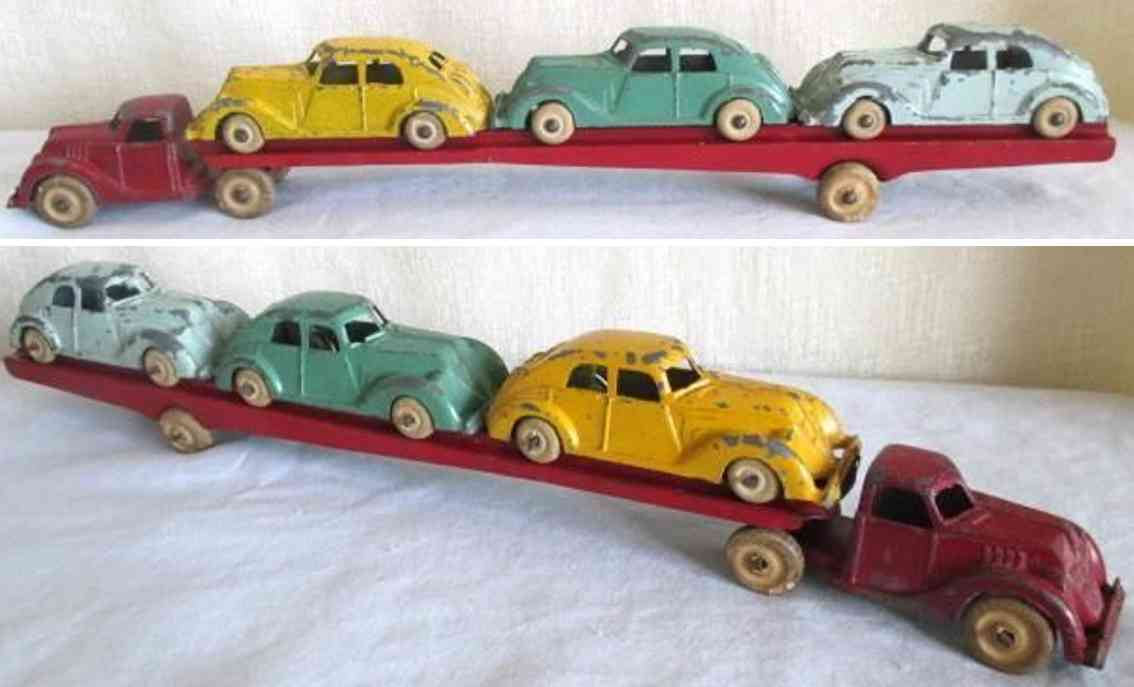 hubley spielzeug gusseisen lastwagen autotransporter drei autos