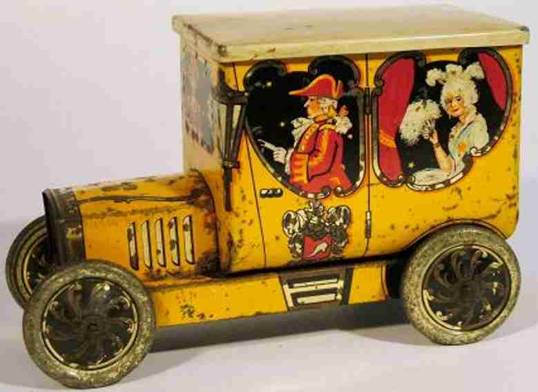 hudson scott & sons ltd toy car automobile figural biscuit tin