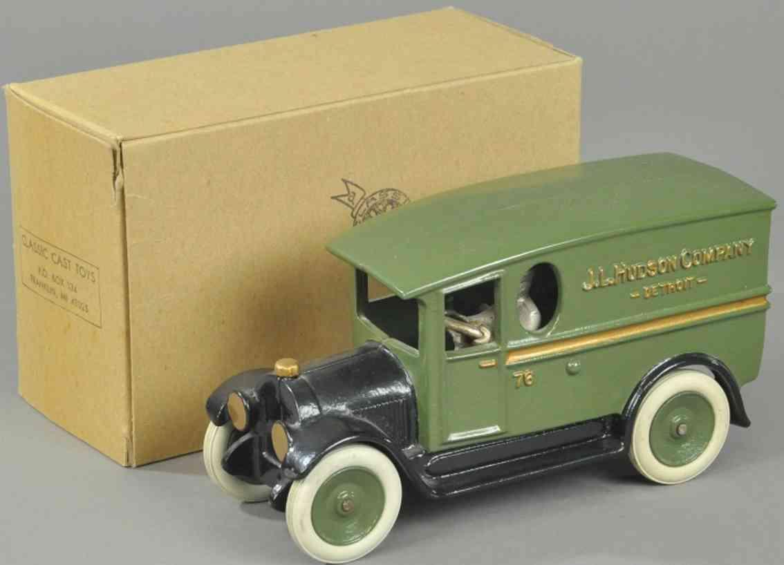 hudson scott & sons ltd cast iron toy delivery va green black buick