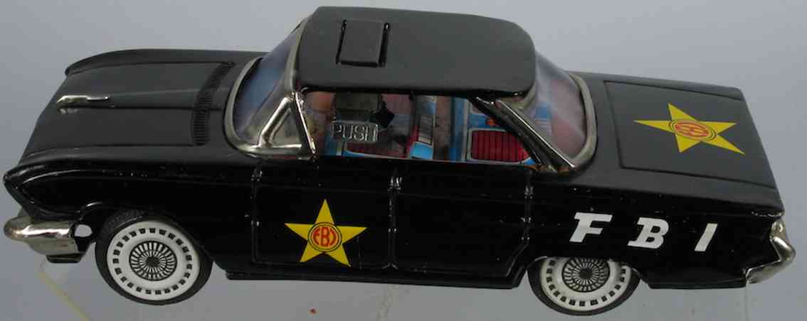 ichiko tin toy fbi buick car with pop up sign and friction drive