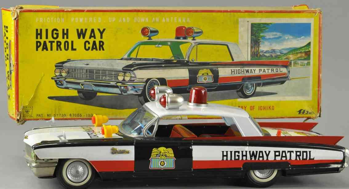 ichiko blech spielzeug auto polizeiauto highway patrol sirenen lampen