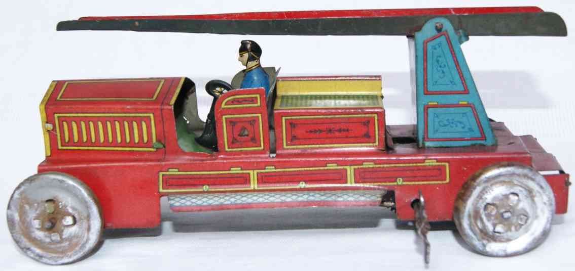 ingap 557 tin toy fire engine ladder car in red driver