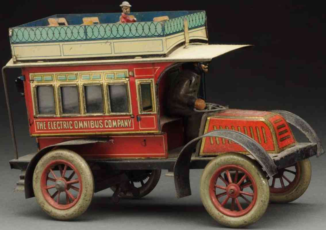 issmayer tin toy double decker bus red the electric omnibus company