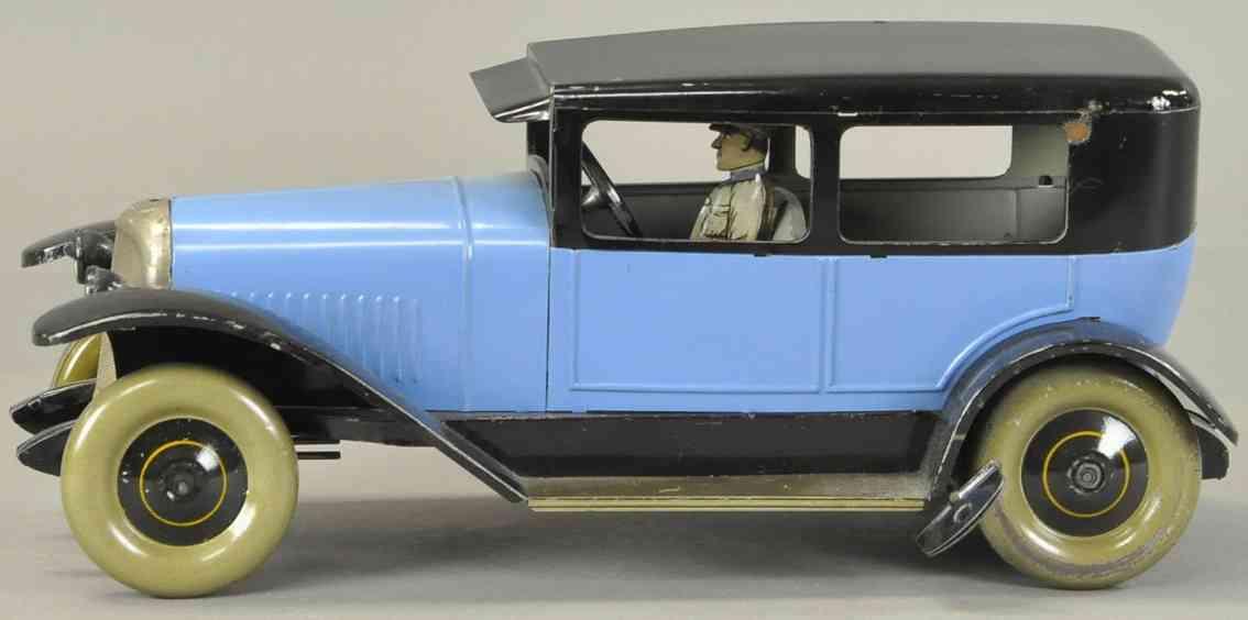jep 7386 blech spielzeug auto limousine vier tueren fahrer uhrwerk blau schwarz