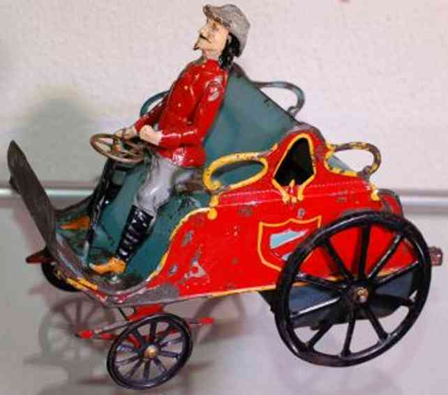 jep tin toy car buffalo bill car with clockwork red blue