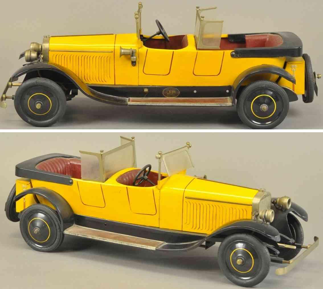 jep spielzeug auto hispana-suiza, luxusmodell aus weissblech gelb